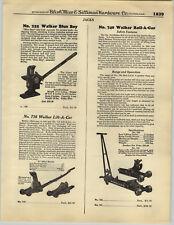 1932 PAPER AD Walker Blue Boy Roll-A-Car Lift-A Car Garage Floor Jacks
