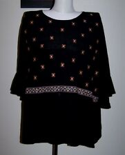 NWT $59 ROCKMANS 20/16 BLACK CRUSHED BABY-DOLL SMOCK TOP W EMBROIDERY