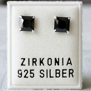NEU 925 Silber OHRSTECKER mit 6mm ZIRKONIA STEINE in jet/schwarz OHRRINGE