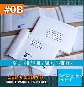 Bubble Mailer 0B 120 X 180MM Padded Bag Envelope 50 100 200 600 1200