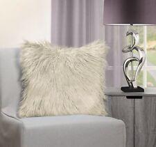 Luxurious Soft Shaggy Mongolian Faux Fur Cream Cushion Cover 43 X 43 Cms