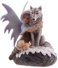 Winter Elfenfigur Schneefee mit Wolf Fantasy Elfe Fee Feen Elfen Schnee wulf