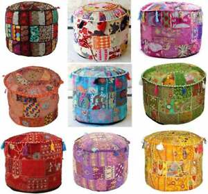 Pouf Cover Bohemian Patchwork Ottoman Ethnic Decor Indian Boho Pouffe Foot Stool