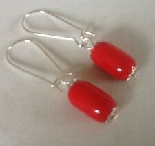 Vintage Up-cycled Earrings Opaque Cherry Red Czech Glass Art Deco 20s 30s Beads