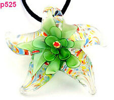 Green Starfish flower Lampwork Glass Pendant Necklace p525
