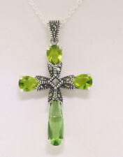 Marcasite Sterling Silver Green Peridot Fancy 1.50in. Medium Cross w/ Chain