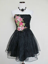 NWT Betsey Johnson Black Gramercy Embroidered Rose Runway Evening Dress Sz 10