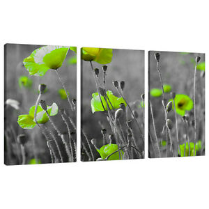 Set Three Cheap Large Lime Green Canvas Art Wall Pictures Prints 3138