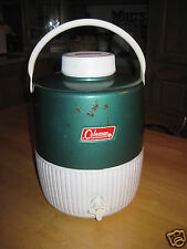 VINTAGE COLEMAN GREEN METAL/WHITE PLASTIC LARGE WATER JUG-USED-CLEAN w/SOME RUST
