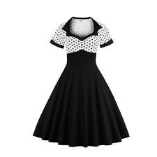 UK Women's Vintage 1950s Polka Dot Rockabilly Evening Prom Swing Dress Plus Size