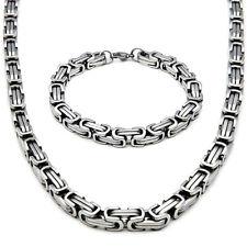 5mm/60cm Set BIZANTINO COLLAR + pulsera collar cadena acero inoxidable plata