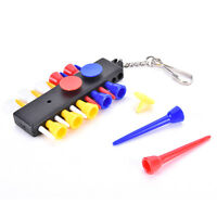 1x Golf Tee Holder Carrier with 12 plastic Tees w 3 Ball Markers w 1 KeyChain HD
