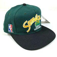 Vintage Seattle Supersonics Gorra Ajustada Tamaño 6 7/8 Verde Negro
