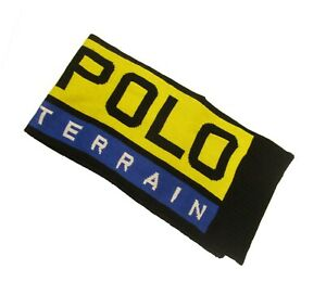 Polo Ralph Lauren Yellow Multi Colorblock Polo Terrain Graphic Wool Blend Scarf