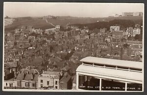 Postcard Hastings Sussex the East Hill Lift and Old Town houses posted 1935 RP