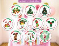 Merry Christmas Stickers Label Santa present Personalised MATT Q24 & 35
