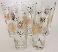 5 Vintage Starburst Midcentury Hi-ball Drinking Glasses Black Gold Atomic
