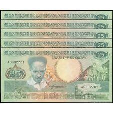 TWN - SURINAME 132b - 25 Gulden 9/1/1988 UNC Prefix AG DEALERS x 5