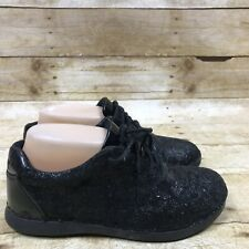 Alegria Essence Black On Black Paisley Print Sneakers Women Size 36 5.5 6 Shoes