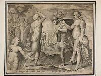 Belle gravure ancienne  Maniériste Métamorphose d'Ovide Tybris 16 ème rare