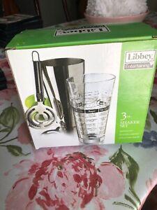 Cocktail Shaker Glass Set 3 pc LIBBEY Barware Mixologist Bartender Set NEW