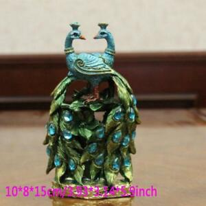 Small Peacock Resin Crafts Statues Best Gift Figurine Home Art Decor Figures New