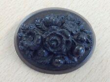 ANTIQUE VULCANITE JET FLOWER BROOCH PIN 1880