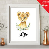 Personalised WOODLAND ANIMALS Watercolour Wall Art Print Pictures Nursery Decor