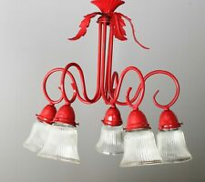 Chandelier Antique Red - 5 arm standard 40 watt light sockets with glass covers