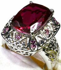 Blazing Red Quartz, Orissa Rhodolite Garnet Ring Size 8 Sterling Silver  7.60 Ct