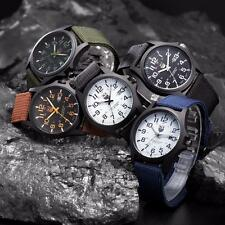 Mens Watch Stainless Steal Canvas Band Military Sports Date Quartz Wrist Watches