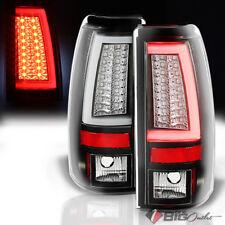 For 03-06 Silverado/Sierra Black LED Tail Lights w/Fiber-Optic Tube & LED Signal