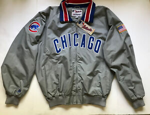 RARE Authentic Vintage Majestic Chicago Cubs MLB Baseball Jacket Coat With Flag