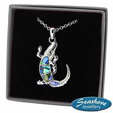 "Crocodile Necklace Paua Abalone Shell Pendant Silver Fashion Jewellery 18"" 45cm"