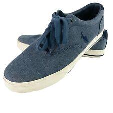 Polo Ralph Lauren Vaughn Blue Denim Canvas Fashion Sneakers 9.5 D Pony