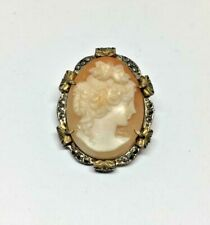 Gilt Marcasite Cameo Pendant Brooch Pendant Antique Hand Carved 900 Silver Gold