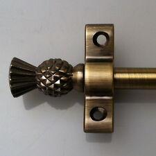 ANTIQUE BRASS 3/8 x 36 INCH STAIR CARPET ROD THISTLE FINIAL (R02LT)
