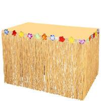 275x75cm Hawaiian Grass Hula Table Skirt Luau Party Tropical Leis Flowers