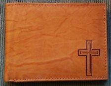 Mens Christian Cross Tan Brown Black REAL LEATHER Bifold ID Wallet IMPERFECT