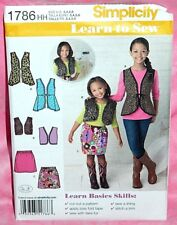 Uncut Simplicity Child Girls 3-6 Learn-To-Sew Vests & Skirt Pattern 1786 Cropped