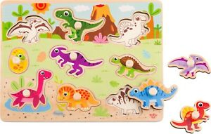 Dinosaur Wooden Peg Puzzle - 9 pcs Educational Toys for Toddlers