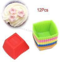 12pcs/Pack Silicone Mini Square Reusable Cupcake Muffin Cup Moulds Cake Molds