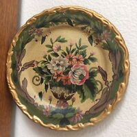 Vtg Raymond Waites Victorian Floral Wall Plate Gold Scalloped Edges 10 1/4""