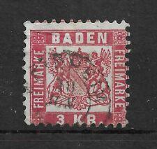 BADEN 1868 3 K.R. rose P10 USED