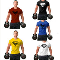 Men's Super Gym Singlets t-shirt Bodybuilding Fitness Sports Casual Tops Tee