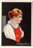 Swiss Switzerland Young Woman Traditional Dress Clothing  1920s Trade Ad Card