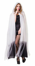 LADIES LONG WHITE HOODED CAPE OMBRE FANCY DRESS GHOST COSTUME HALLOWEEN OUTFIT