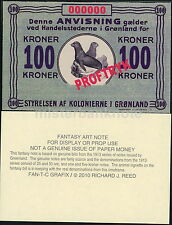 GREENLAND 100 KRONER FANTASY ART FUN NOTE, TWO SEALS AT CENTER, SPECIMEN - NEW!