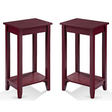 Set of 2 Tall Nightstand End Table Coffee Stand Sofa Side Accent Furniture