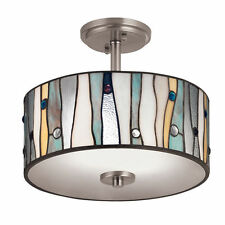Tiffany Style Glass Shade Ceiling Lamp Semi Flush Mount Light Lighting Fixture